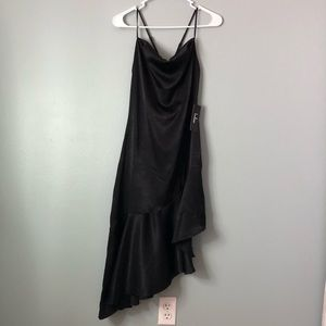 LULUS ASYMMETRICAL SATIN BLACK DRESS
